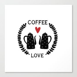 Coffee love coffeepots with heart and leaf ornament Canvas Print