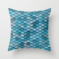 bisexual Throw Pillows featuring light turquoise sparkling scales by Better HOME