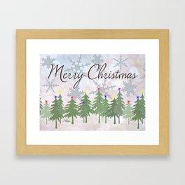 Merry Christmas Glittery Snowy Pine Trees Framed Art Print