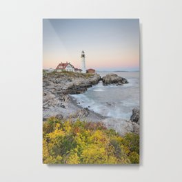 PORTLAND HEAD LIGHTHOUSE AUTUMN - MAINE COAST - NEW ENGLAND - LANDSCAPE NATURE PHOTOGRAPHY Metal Print