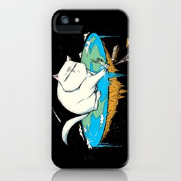 Flat Earth Cat iPhone Case