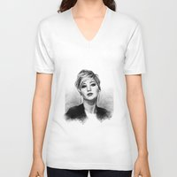 jennifer lawrence V-neck T-shirts featuring Jennifer Lawrence by Cécile Pellerin