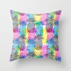 Pineapple CMYK Repeat Throw Pillow