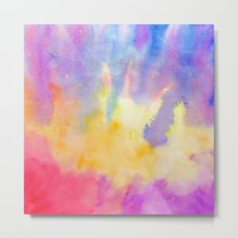 Watercolor Abstract Landscape Yellow Red and Blue Metal Print