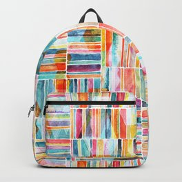 Summer Pastel Geometric and Striped Abstract on white Backpack