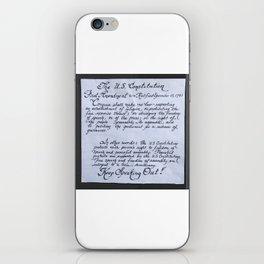 The U.S. Constitution First Amendment in calligraphy iPhone Skin