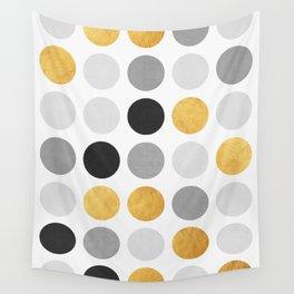 Gray and gold circles Wall Tapestry