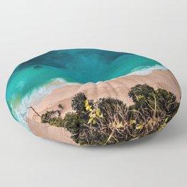 Wave Series Photograph No. 6 - Cliff-side in the Tropics Floor Pillow
