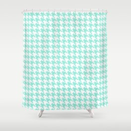 Seafoam Blue Classic houndstooth pattern Shower Curtain