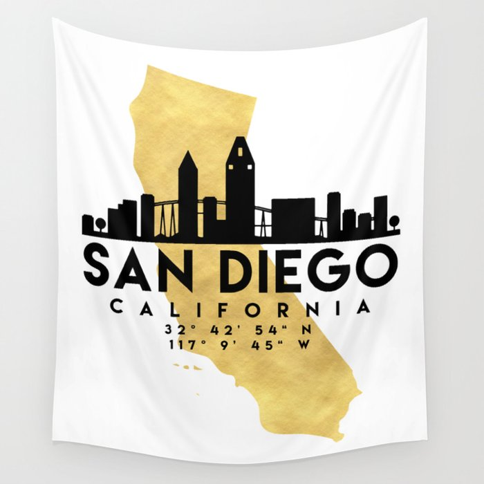 SAN DIEGO CALIFORNIA SILHOUETTE SKYLINE MAP ART Wall Tapestry by ...