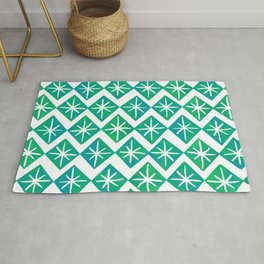 Mid Century Starry Pattern - Blue and Green Palette Rug