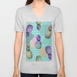 Pineapple Summer Rainbow Rose Gold Unisex V-Neck