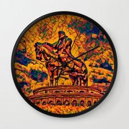 Mongolia Chinggis Khan Equestrian Statue Artistic Illustration Warrior Shapes Style Wall Clock