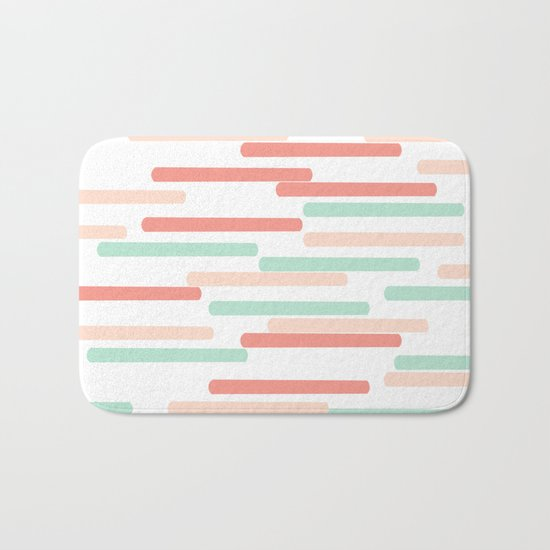 Mint Coral stripes minimal abstract basic home office dorm college trendy decor gifts Bath Mat
