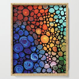 Abstract 1 - Beautiful Colorful Mosaic Art by Sharon Cummings Serving Tray