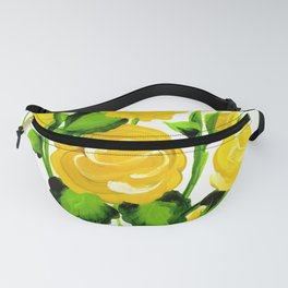 Yellow roses, painted Roses, Floral Decor, yellow gifts, bouquet of roses, art decor, Flowery print Fanny Pack