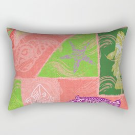 Vintage Hawaiian Polynesian Fish Collage Rectangular Pillow