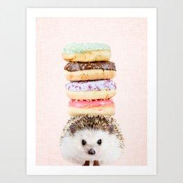 Hedgehog Donut on Blush Art Print