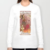 la Long Sleeve T-shirts featuring La fille du feu by Megan Lara