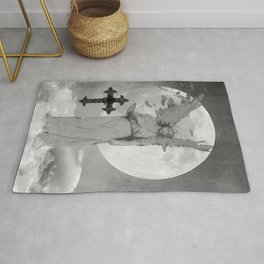 Angel Lady Woman Cross Moon Devotion Black White Gothic Art A625 Rug