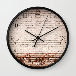 White bricks obsolete wall abstract Wall Clock