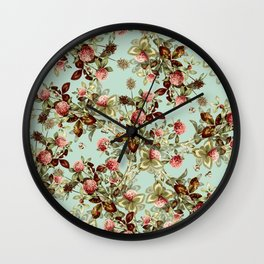 Vintage shabby green pink coral floral pattern Wall Clock