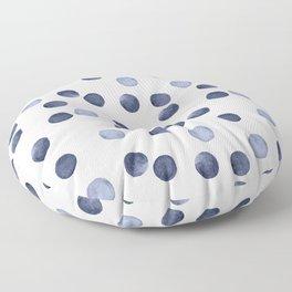 Watercolor . Dark blue polka dot . Floor Pillow