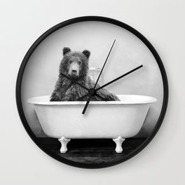 Bear in a Vintage Bathtub (bw) Wall Clock