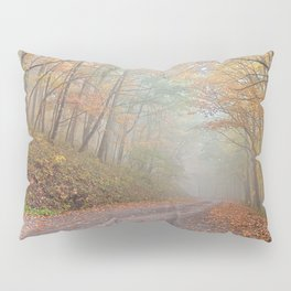 Misty Autumn Forest Road Pillow Sham