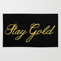 stay gold Area & Throw Rugs featuring Stay Gold by bitobots