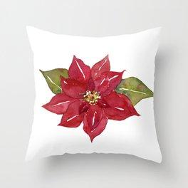 Watercolor Red Poinsettia Flower, Holiday Decor, Christmas Decor, Throw Pillow