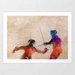 Fencing sport art #fencing Art Print
