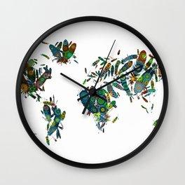 world map feathers mandala 2 Wall Clock