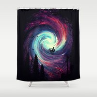 silhouette Shower Curtains featuring Adventure Awaits by nicebleed