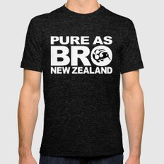 Pure as BRO  New Zealand Kiwi Mens Fitted Tee Tri-Black LARGE