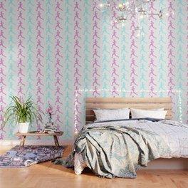 Running Girl Pastel Pattern Wallpaper