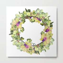 Wreath, Orchid, Clipart, watercolor, handpainted, floral, flower, design, stylish, weddig Metal Print