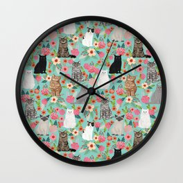 Cats floral mixed breed cat art cute gifts for cat ladies cat lovers pet art Wall Clock