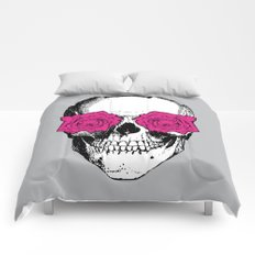 Skull and Roses | Grey and Pink Comforters