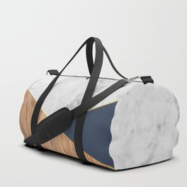 White Marble - Wood & Navy #599 Duffle Bag