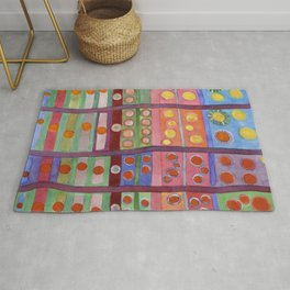 Colorful Grid Pattern with Numerous Circles Rug
