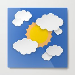 Blue sky with clouds and sun Metal Print