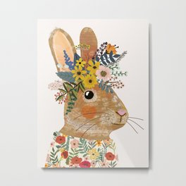 Foral Rabbit Metal Print