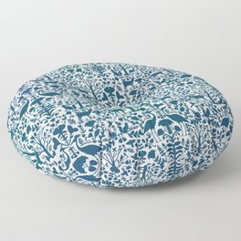 Folk Art Pattern Blue Teal on Gray Floor Pillow