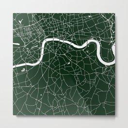 Green on White London Street Map Metal Print