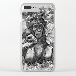 AnimalArtBW_Chimpanzee_20170603_by_JAMColorsSpecial Clear iPhone Case