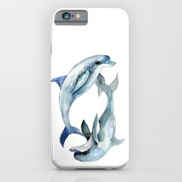 Dolphin, Two Dolphins, chidlren room decor illustration dolphin art iPhone Case