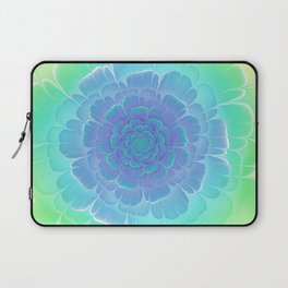 Romantic blue and green flower, digital abstracts Laptop Sleeve