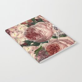 Vintage & Shabby Chic Pink Dark Floral Roses Lilacs Flowers Watercolor Pattern Notebook