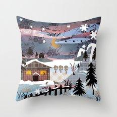 Digital illustration of Winter evening . Quilting. Patchwork . Throw Pillow